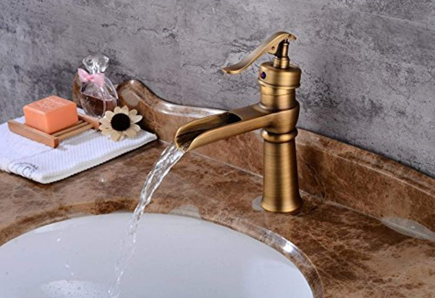 XSRKHome Basin Faucet Leading Waterfall on Single Hole Lower Basin archaize