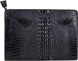 Orfila Oversized Leather Clutch Bag Vintage Crocodile Pattern Envelope Wedding Party Handbag Purse