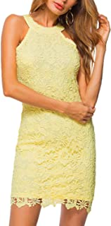 Women's Casual Sleeveless Halter Neck Party Lace Mini Dress