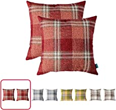 Home Plus Cushion, 17X17 Throw Pillow Covers Coral Deco Pillow, Two Cushions PER Set Woven Check, Texture Weave, Soft Touch Throw Pillow CASE Coral