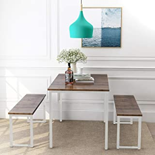 """Rhomtree 3 Pieces Dining Set Table with 2 Benches Kitchen Dining Room Furniture 47.6""""L x 29.9""""W Modern Style Wood Table Top with Metal Frame (Brown)"""