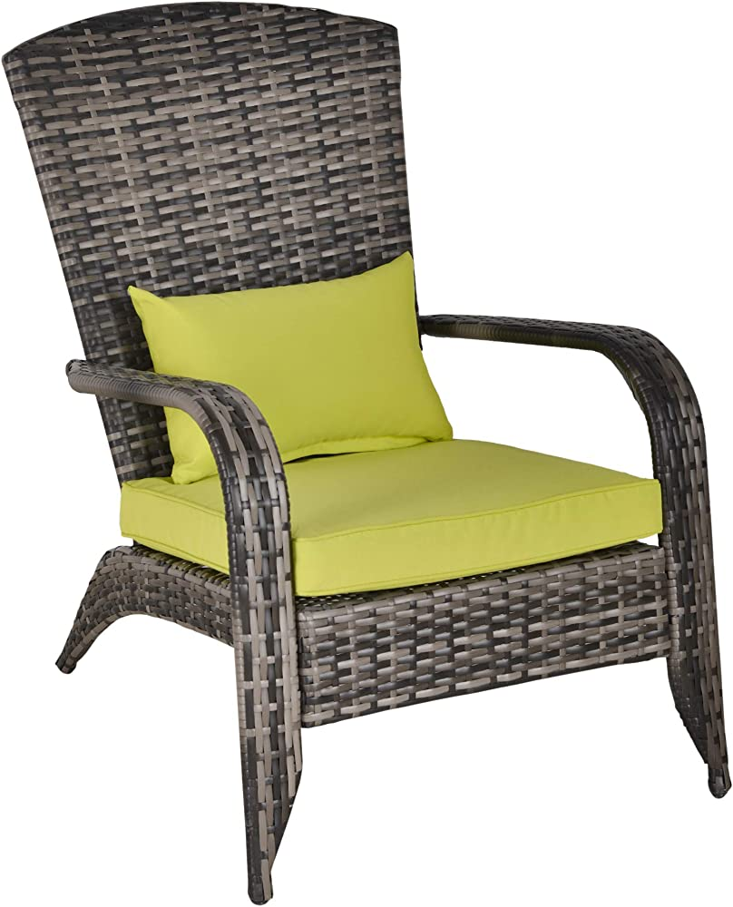 Outsunny sedia da giardino con braccioli e cuscini in metallo rattan sintetico poliestere IT867-068GN0631