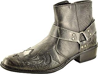 My Perfect Pair Bottines de cowboy à bout pointu pour homme avec fermeture éclair