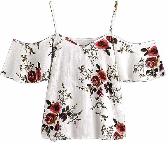 Blusa Sexy Mujer Camisetas sin Mangas de Verano de Mujeres Blusas Florales para Mujer con Hombros Descubiertos Camisola Cami Tops Crop Tops Chaleco ...