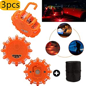 Mioke Pack LED Emergency Roadside Safety Beacon kit  LED Warning Flashing Lights With Hook  Strong Magnetic Base and Storage bag for Cars Vehicles SOS Truck Boat Roadside Breakdown Amber