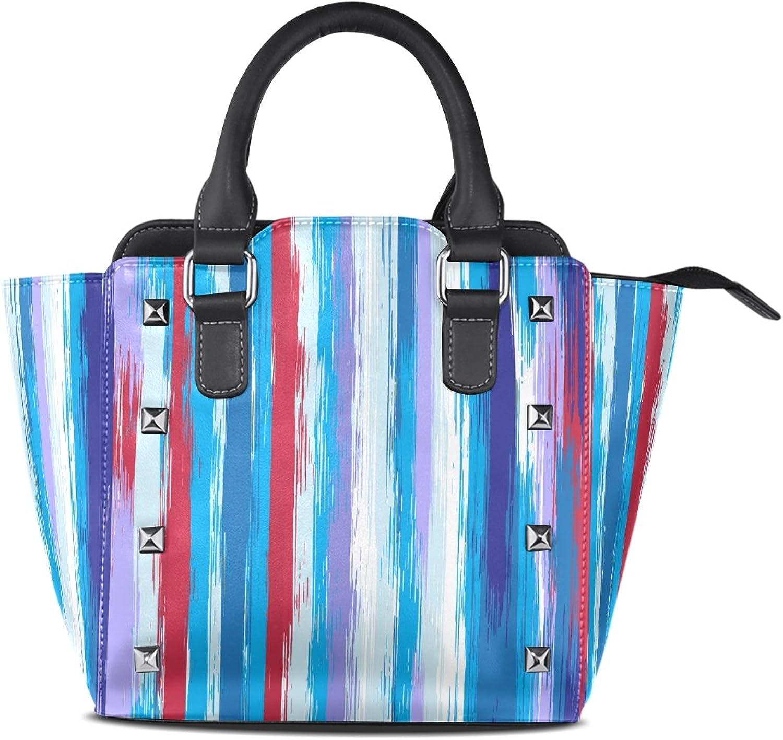 My Little Nest Women's Top Handle Satchel Handbag colorful Stripes Ladies PU Leather Shoulder Bag Crossbody Bag