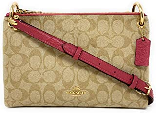 COACH WOMENS MIA CROSSBODY IN SIGNATURE CANVAS F76646 LIGHT KHAKI-ROUGE