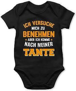 Shirtracer Sprüche Baby - Ich versuche Mich zu benehmen Aber ich komme nach meiner Tante orange - Baby Body Kurzarm für Jungen und Mädchen