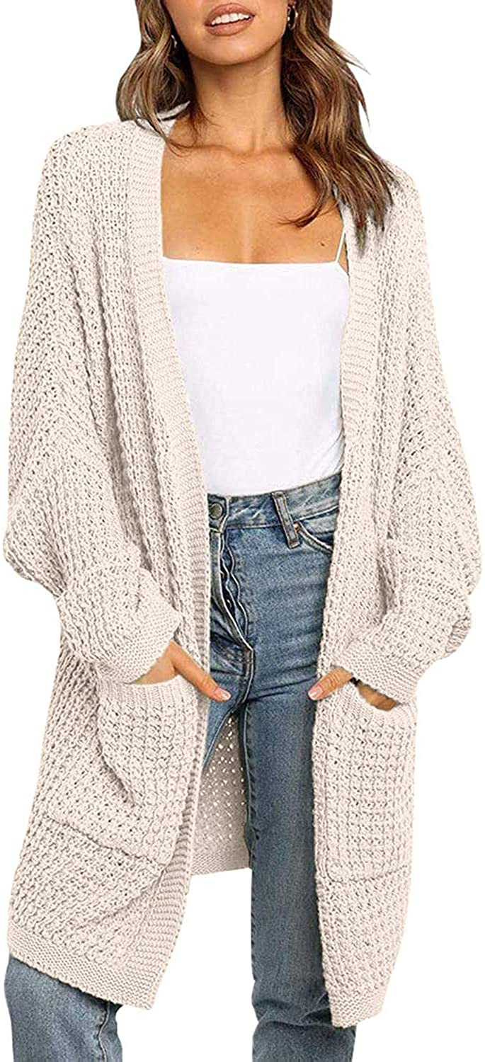 YIBOCK Womens Kimono Long Batwing Sleeve Open Front Chunky Cable Knit Cardigan Sweater