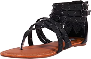 Women's Dress Flat Gladiator Sandals Strappy Back Zip Thong Beach Shoes
