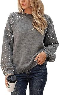 Women's Chunky Sweater Crewneck Sweatshirt Knit Lantern...