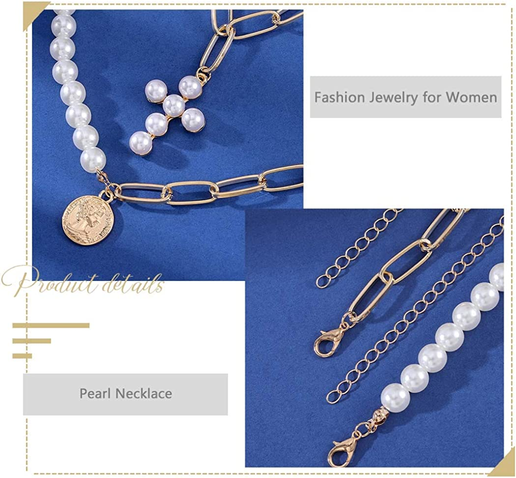 Fstrend Fashion Layered Necklace Gold Pearl Coin Pendant Chain Cross Statement Multilayer Necklaces Jewelry for Women and Girls(2Pcs)