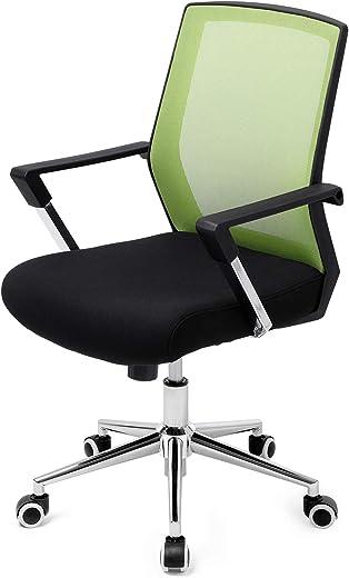 SONGMICS Bürostuhl mit Netzbezug, höhenverstellbarer Chefsessel, Schreibtischstuhl mit Wippfunktion, Drehstuhl mit gepolsterter Sitzfläche,…