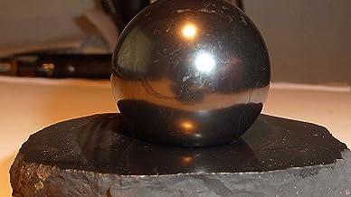 Boviswert Boule de Schungit de 3 cm de diamètre sur Socle de Schungit, Poli, Certificat.
