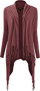 FASHION BOOMY Women's Fringe Shawl Cardigan - Cowl Neck Knit Sweater - Regular and Plus Sizes
