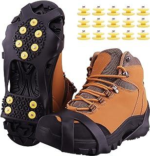 Fesoar Ramponi,Ice Tacchetti Trazione Antiscivolo su Scarpe/Stivali 15 Borchie Neve Ghiaccio Ramponi Tacchetti Spikes