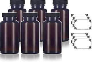 Amber PET Packer Bottle with Black Ribbed Lid 5oz (6 pack) + Labels, for storing supplements, herbs, varies capsules and more.