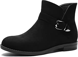 GUCHENG Women's Ankle Boots Chelsea Boots Western Booties Round Motorcycle Boots Zip Closure Low Heel Boots