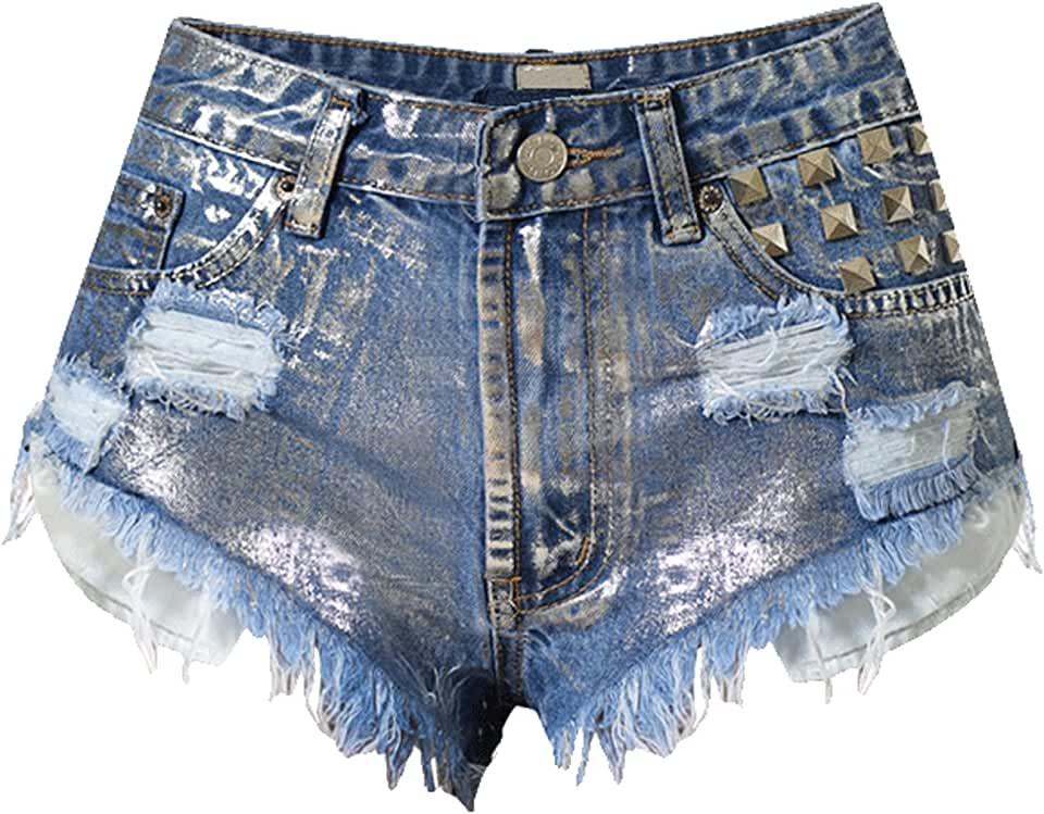 Youhan Women's High Waist Rivets Ripped Frayed Jean Shorts