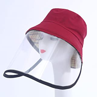 JJWL Protective Face Mask Cap, Spring Anti-Dust Fisherman Hat, Anti-Saliva Cap Anti Fog Dust Hat with Clear Full Face Three Sides Protection Cover
