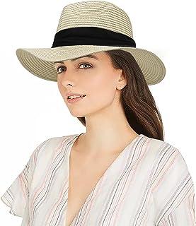 قبعة شمس بنما سترو للنساء قبعة شمس صيفية قابلة للطي للشاطئ والسفر في الهواء الطلق مرنة (قبعة بمقاس 22 بوصة - 22 بوصة)