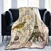 LOVE GIRL Manta Vintage Paris Postcard Silla Throw Blanket Ultra Soft Velvet Blanket Lightweight Warm Premium Bed Blanket For Bed Couch Living Room