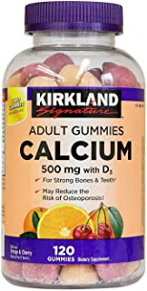 Kirkland Signature Chewable Calcium with Vitamin D3 Adult Gummies, 120 ct x 1 Bottle