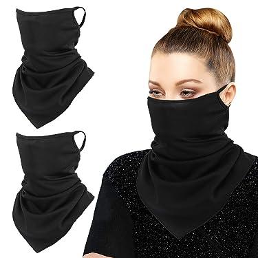 MoKo Scarf Mask Bandana with Ear Loops 3 Pack, Neck Gaiter Balaclava UV Sun Protection Face Mask for Dust Wind Outdoors Motorcycle Cycle Bandana Headband for Women Men