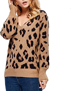 Women's Casual Leopard Print Knitting Sweater Pullover,Long Sleeve Loose Jumper,V-Neck Blouse Tops