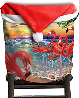 Fall Elegant Harvest Autumn Flamingo Beach Beachy Seaside Themed Christmas Xmas Dinning Table Seat Chair Cap Hat Covers For Backers Slipcovers Wraps Coverings Decorations Protector Party Decor