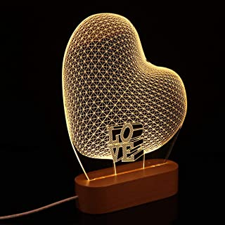 Mobestech 3D Night Light Romantic Heart Shape Illusion Lamp USB Powered 3D Visual Lights, Wooden Base, Gifts for Her Girlf...