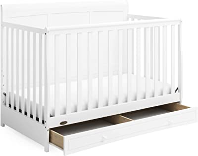 Graco Asheville 4-in-1 Convertible Crib with Drawer - Full-Size Storage Drawer, Crib Easily Converts to Daybed, Toddler Bed, & Full-Size Bed, White