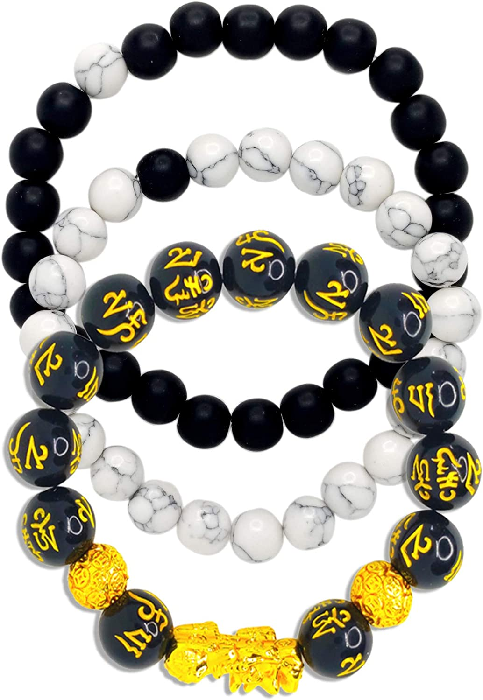 Haiyin 7 Chakras Gemstone Lava Beaded Bracelet, 1Pcs, 3Pcs, Crys