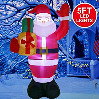 AerWo 5ft Christmas Inflatables Greeting Santa with Light, Christmas Blow Up Yard Decoration for Christmas Yard Decoration Outdoor and Indoor Inflatables