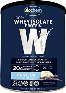 Biochem 100% Whey Isolate Protein - Vanilla Flavor - 30.2 Ounce - Supports Immune Health - Easily Digestible - Refreshing Taste - 20g Vegetarian Protein - Amino Acids
