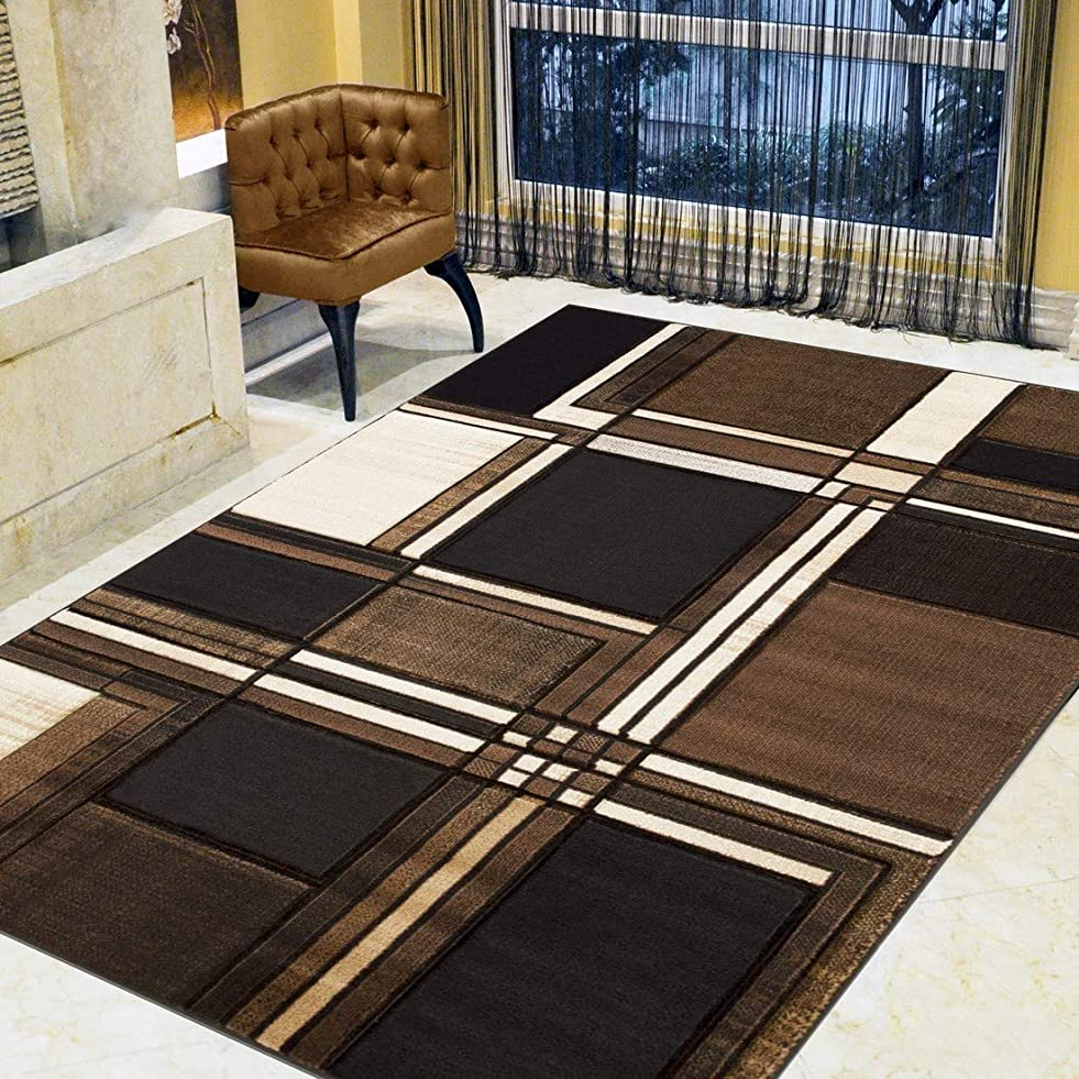 Boxes/Cubism/Squares Modern Abstract Contemporary Hand Carved Area Rug-Chocolate/Beige/Black f096316898