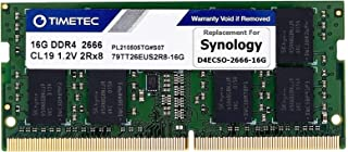 Timetec DDR4-2666 16GB Replacement for Synology D4ECSO-2666-16G DDR4 ECC Unbuffered SODIMM 2666MHz PC4-21300 260 Pin 1.2V ...