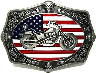 Baosity Fashion American USA Flag Motorbike Design Belt Buckle For Men Leather Belt