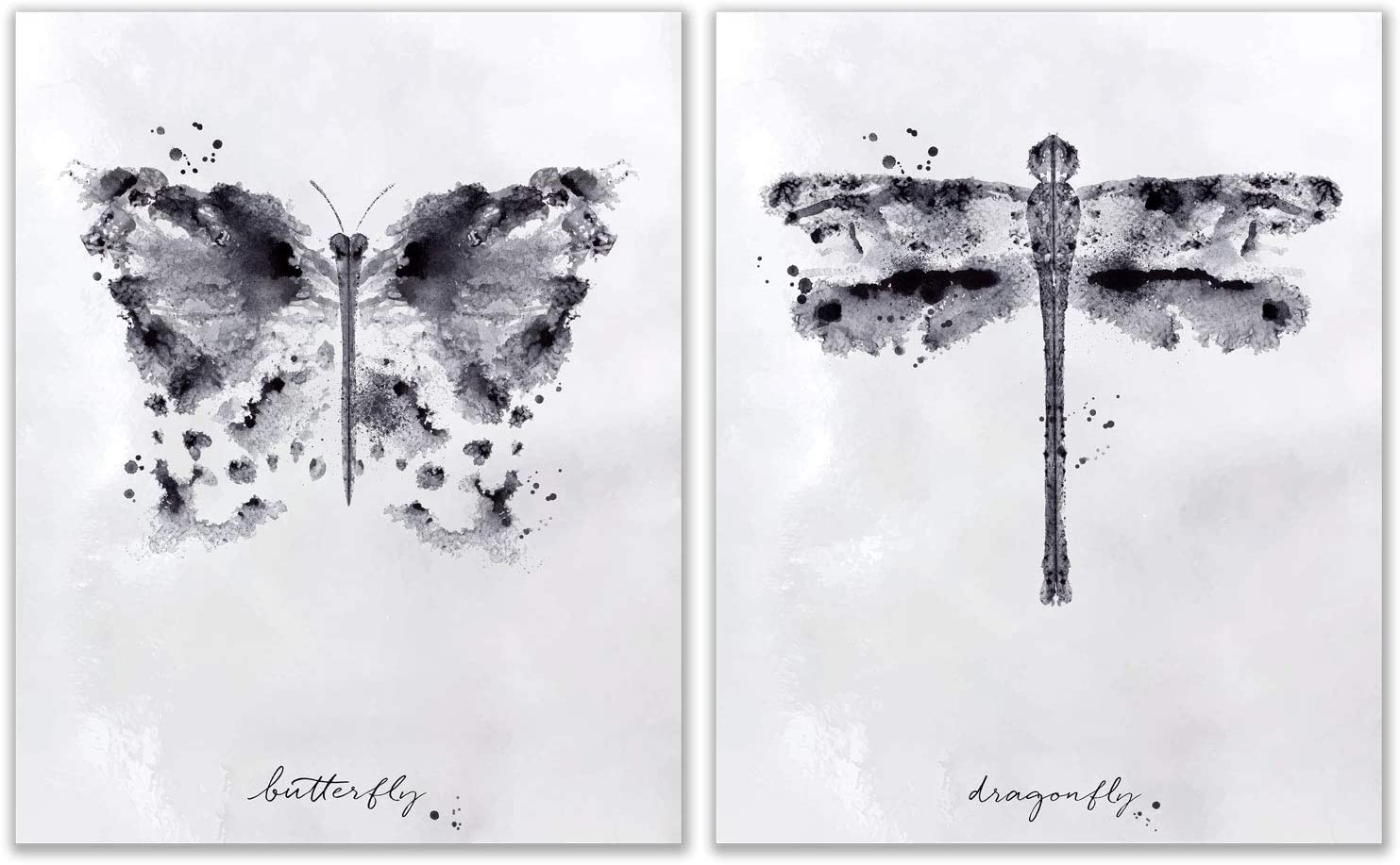 Insect InkBlot Prints - Set of 2 (8 inches by 10 inches) Butterfly decor Dragonfly wall art Photos