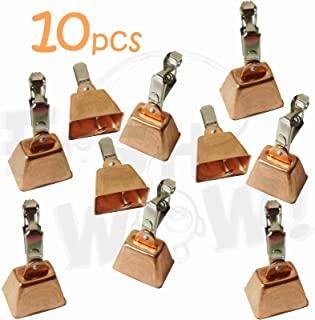 Fish WOW! 10pcs Fishing Copper Bell Alert with Eagle Clamp Clips Baits Alarm Bells