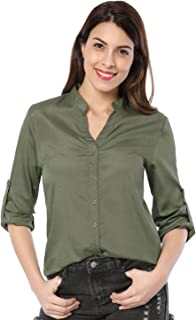 Allegra K Career Blouses Women Roll up Long Sleeve Twin Button V Neck Office Tops