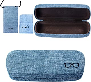 Ezeso Hard Shell Glasses Case, Linen Fabric Case Retro Light Portable Eyeglasses Case