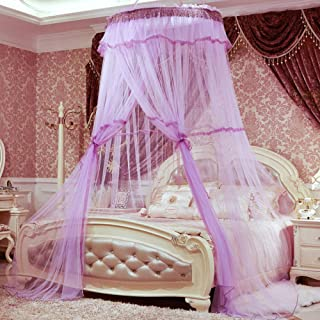 high quality Curtain Net Kids,Heighten encrypted student mosquito nets,ceiling dome floor students round nets,purple,Bed C...