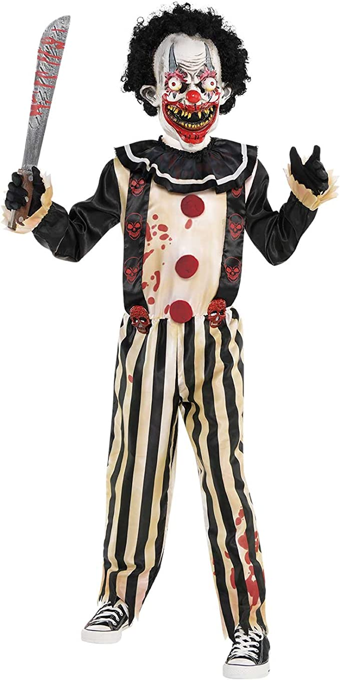 Boys Teens Crazed Jester Joker Halloween Fancy Dress Up Costume Outfit 8-16Yr