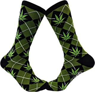 Mens Marijuana Pot Leaf Argyle Funny Sarcastic Adult Humor Graphic Novelty Socks (Green) - Mens (7-12)