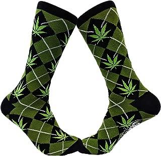 Marijuana Argyle Socks Funny Pot Leaf Stoner Footwear