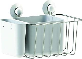Panier de douche en acier inoxydable et ABS - 3 compartiments de rangement / 2 ventouses incluses - Métal/blanc - 22x16x18cm