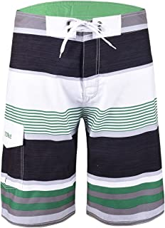 Nonwe Men's Stripe Straight Lightweight Beach Shorts Half Pants with Lining Green Striped with White 32