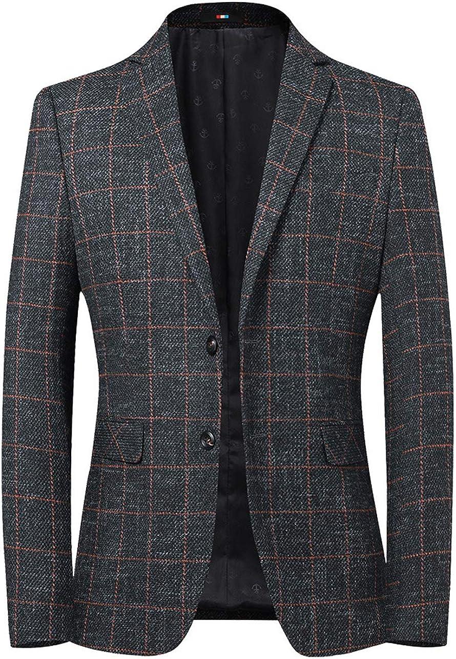 chouyatou Men's British Style Elbow Patch Plaid Suit Blazer Jacket Sport Coat
