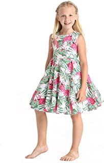 Girl Hawaiian Vintage Fit and Flare Dress in Flamingo in Love